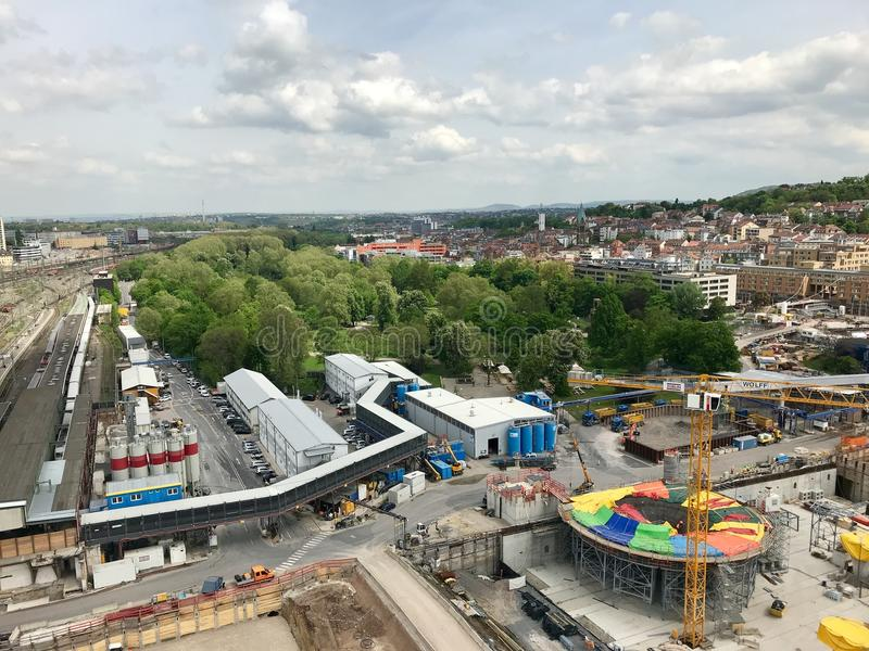 Cantiere alla stazione principale di Stuttgart per il progetto della ferrovia Stuttgart21 immagini stock libere da diritti