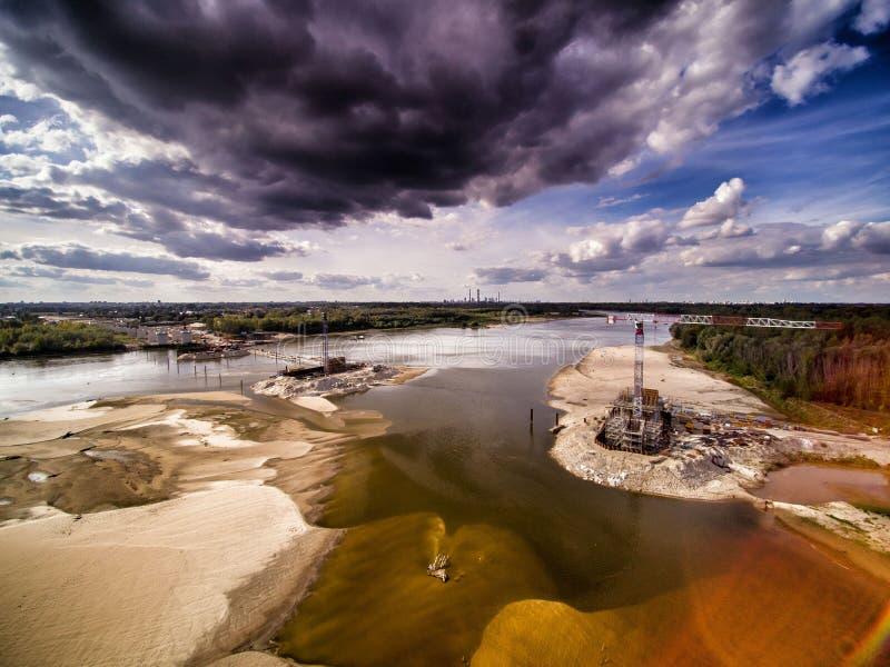 Cantiere del ponte a Varsavia fotografia stock libera da diritti