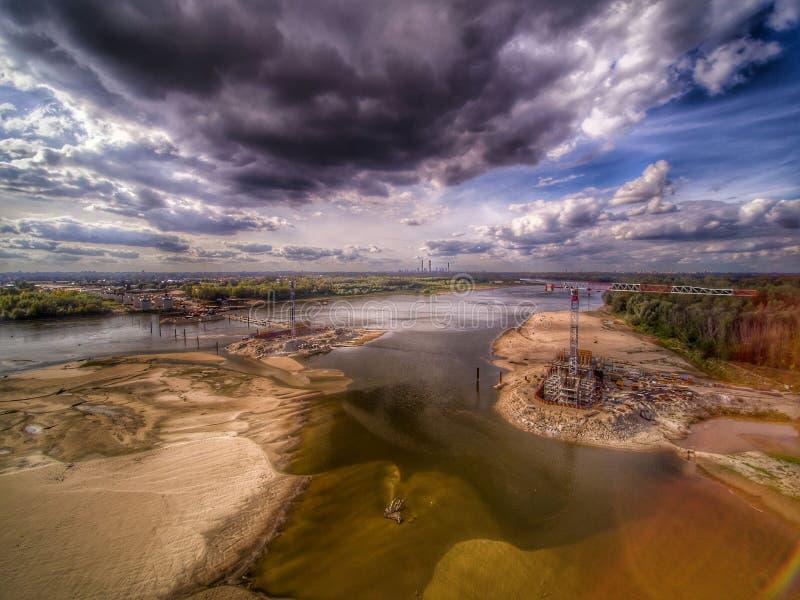 Cantiere del ponte a Varsavia immagine stock libera da diritti