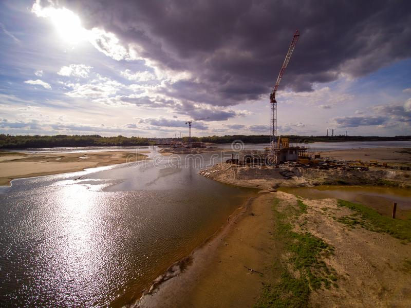 Cantiere del ponte a Varsavia immagini stock
