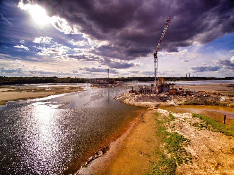 Cantiere del ponte a Varsavia immagini stock libere da diritti