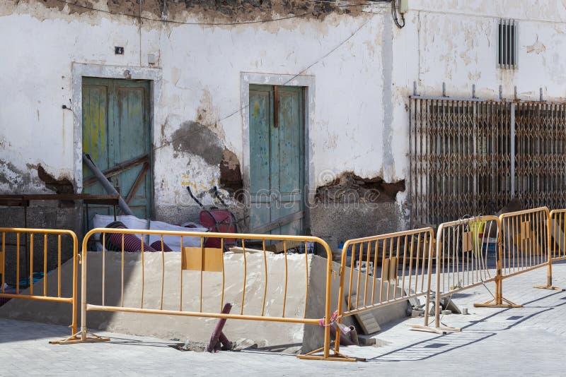 Cantiere in una via in Spagna immagine stock