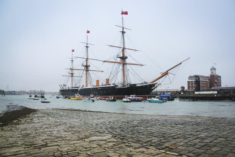 Cantieri navali navali di Portsmouth del guerriero di Hms immagine stock