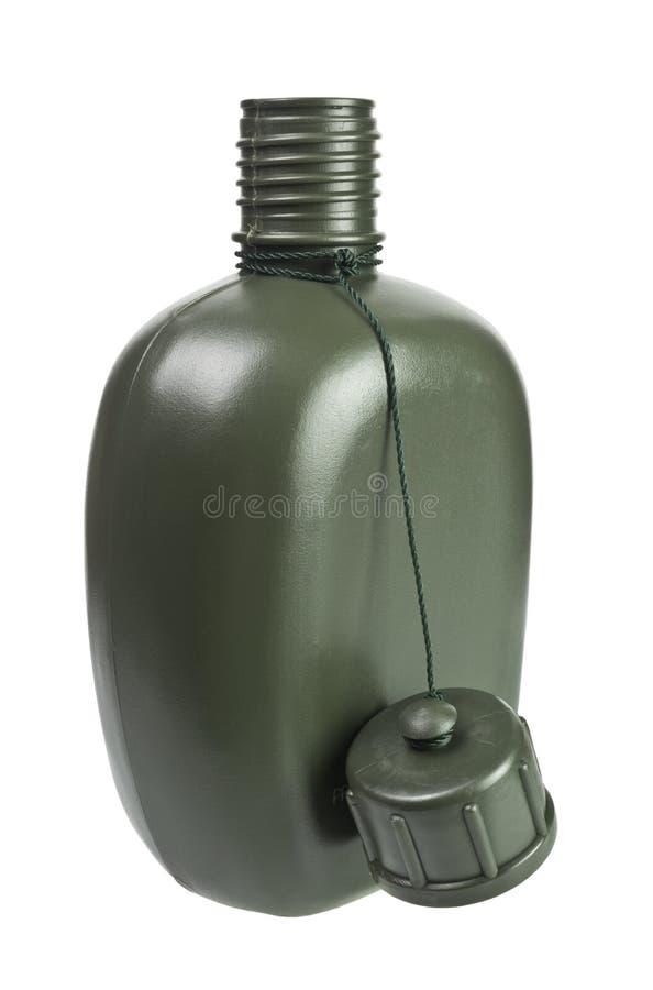 Cantina plástica verde do exército foto de stock