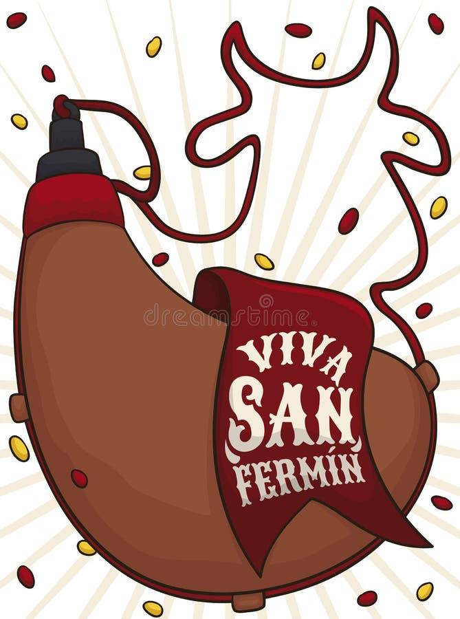 Cantine avec la corde comme un Taureau pour célébrer San Fermin, illustration de vecteur illustration libre de droits