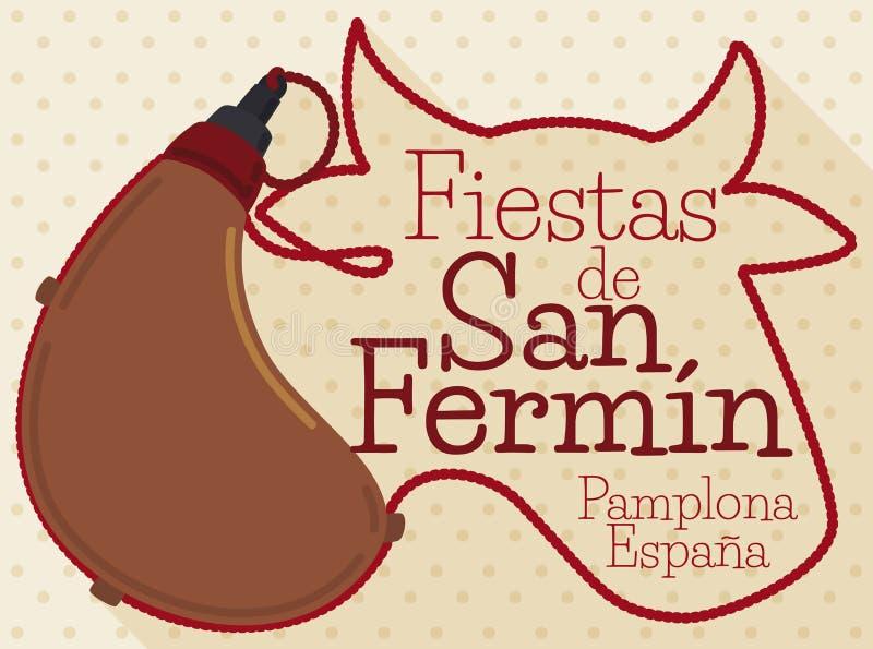 Cantine et silhouette de Taureau avec des cordes pour San Fermin Celebration, illustration de vecteur illustration de vecteur