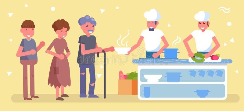 Cantine pour le pauvre, sans abri, vecteur de charité cartoon Distribution d'isolement d'art de nourriture aux pauvres illustration de vecteur