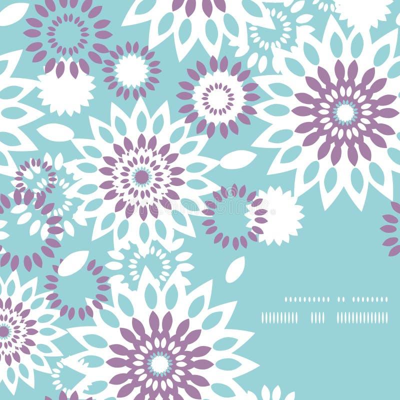 Canto abstrato floral roxo e azul do quadro ilustração royalty free
