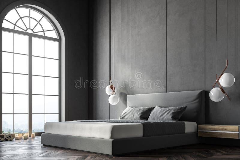 Canto arqueado cinza do quarto da janela ilustração stock