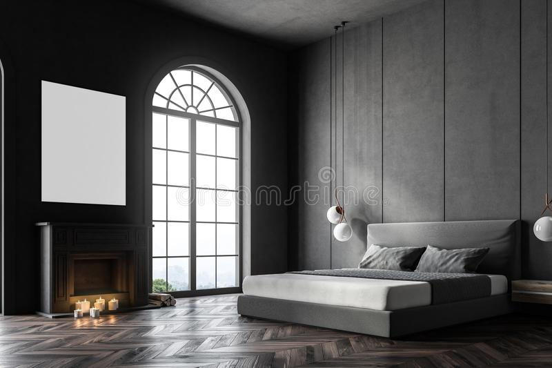 Canto arqueado cinza do quarto da janela, cartaz ilustração stock