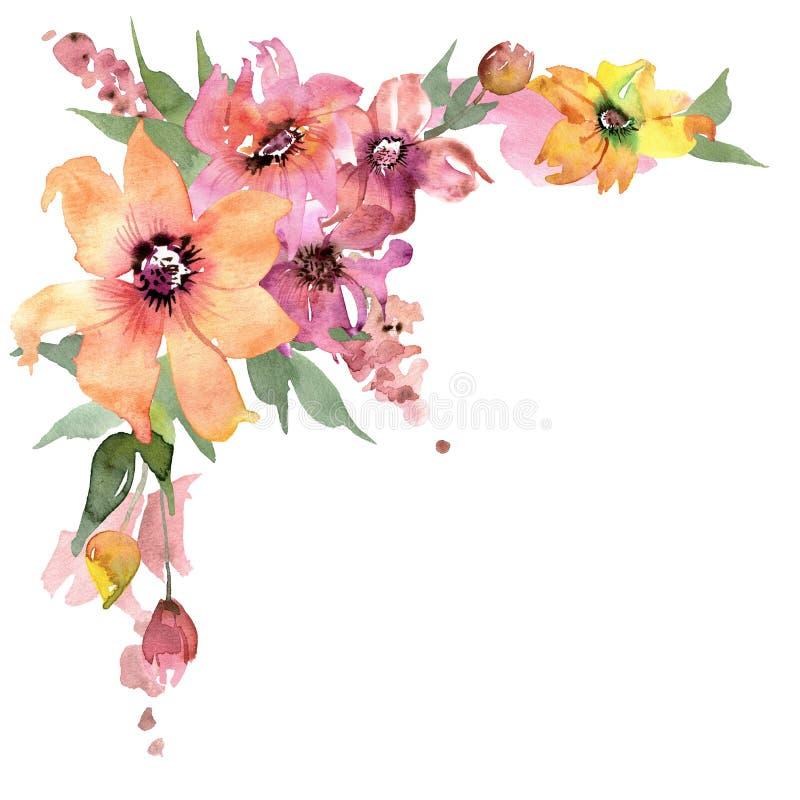 Canto bonito da flor da aquarela Fundo floral pintado mão invitation Cartão de casamento Cartão de aniversário ilustração stock