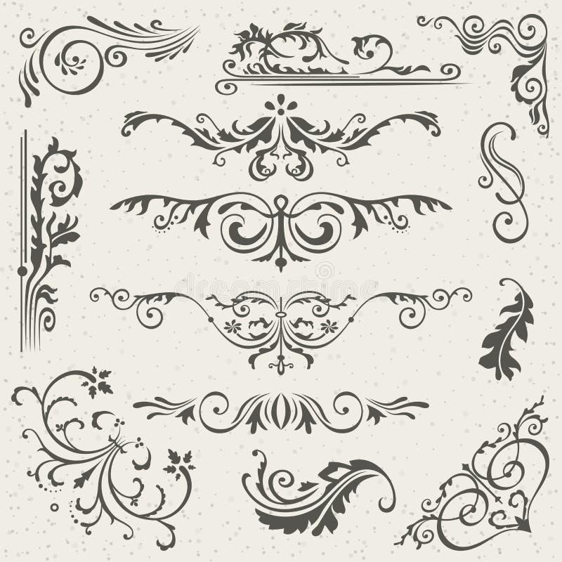 Canto da beira do Flourish e coleção dos elementos do quadro Convite do cartão do vetor Grunge vitoriano caligráfico casamento ilustração do vetor