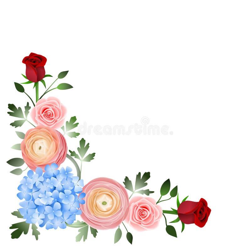 Canto da decoração das flores imagens de stock royalty free