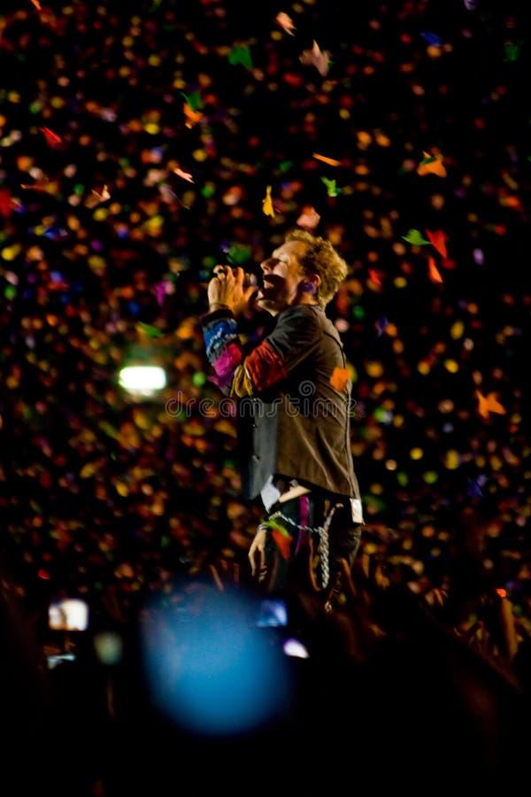 Canto de Chris Martin imágenes de archivo libres de regalías