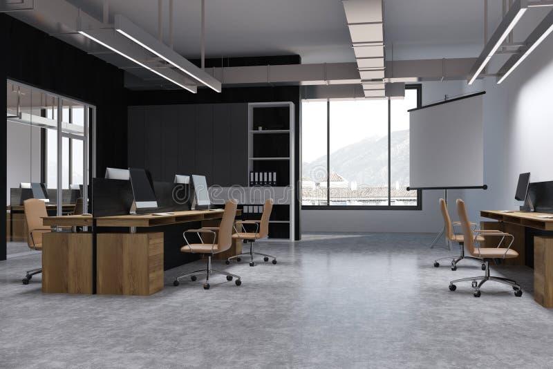 Canto de escritório preto do espaço aberto da parede, tela ilustração royalty free