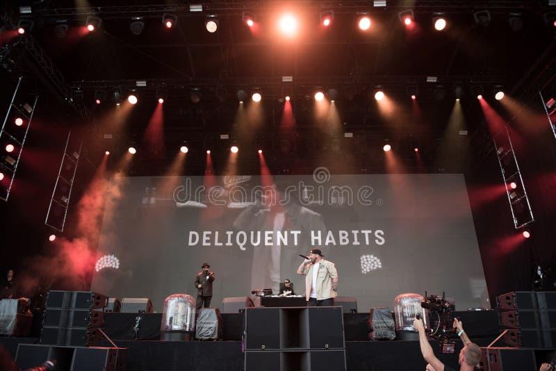 Canto de la banda del hip-hop vivo foto de archivo libre de regalías