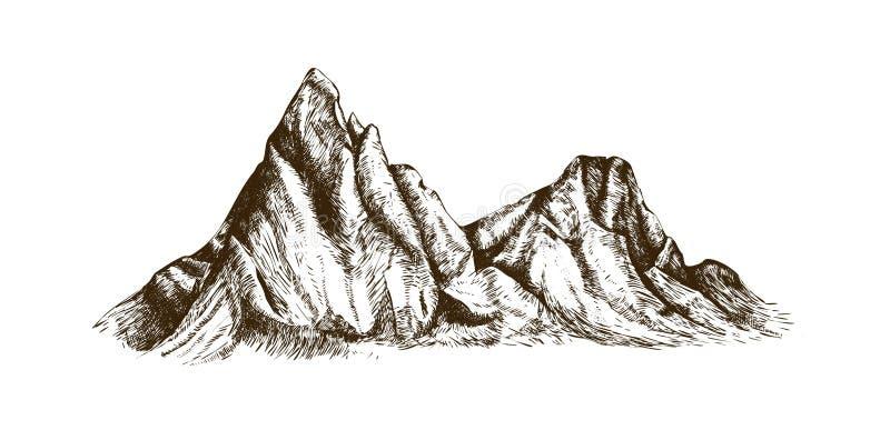 Canto de la montaña o mano de la gama dibujada con las líneas de contorno en el fondo blanco Dibujo elegante del vintage del acan libre illustration