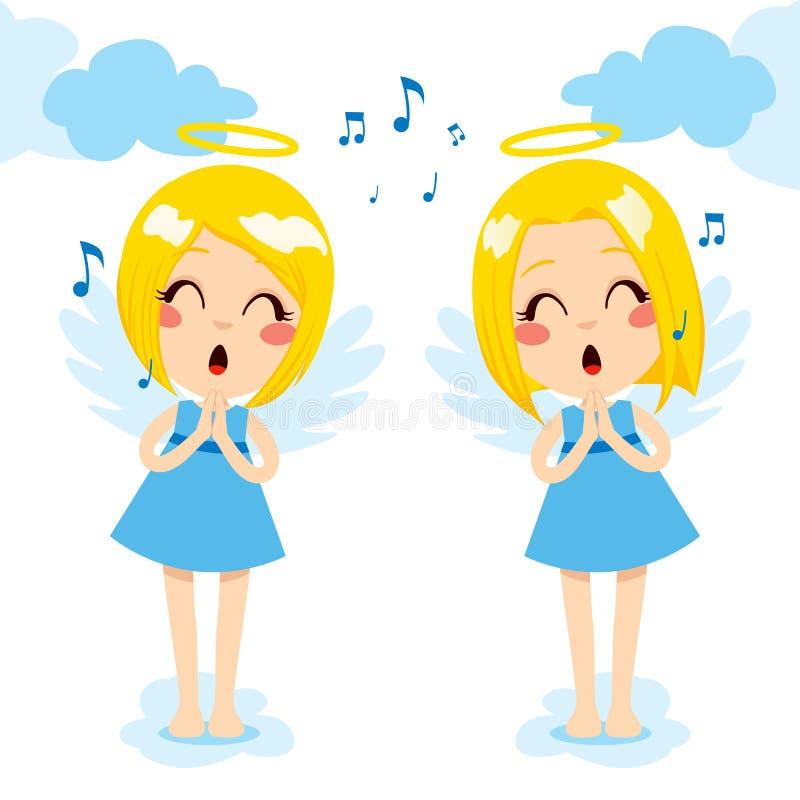 Canto de los ángeles feliz stock de ilustración