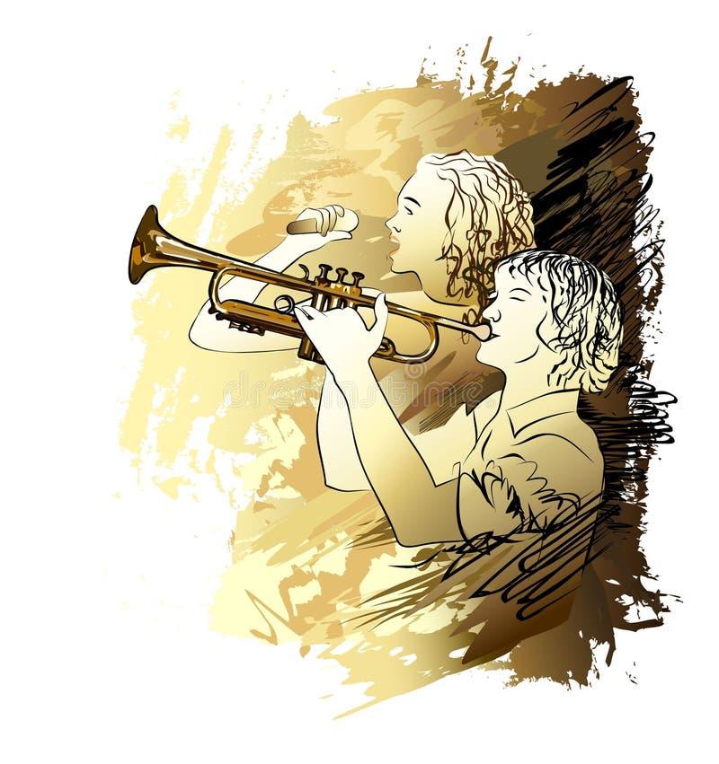 Canto de los músicos, del muchacho y de la muchacha Ilustración del vector libre illustration