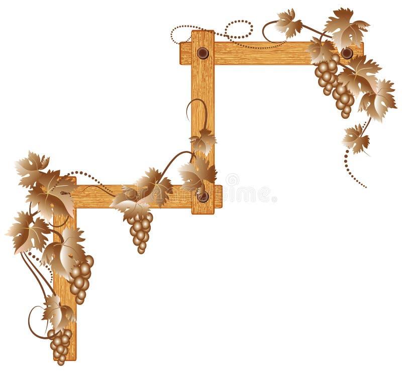 Canto de madeira com uvas ilustração royalty free
