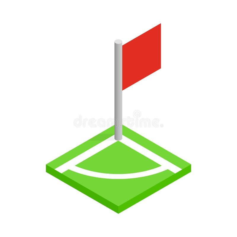 Canto de um ícone 3d isométrico do campo de futebol ilustração do vetor