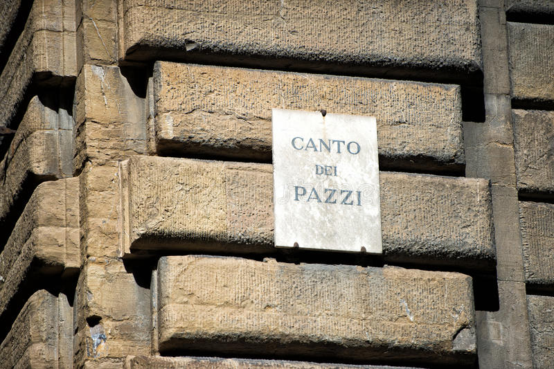 Canto dei pazzi - mad song sign. In florence royalty free stock image