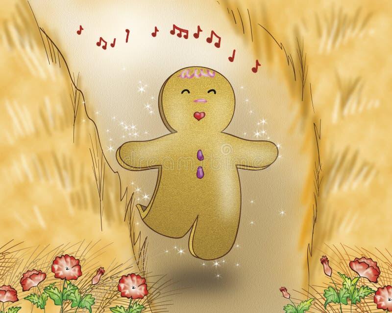 Canto del muchacho del pan del jengibre ilustración del vector