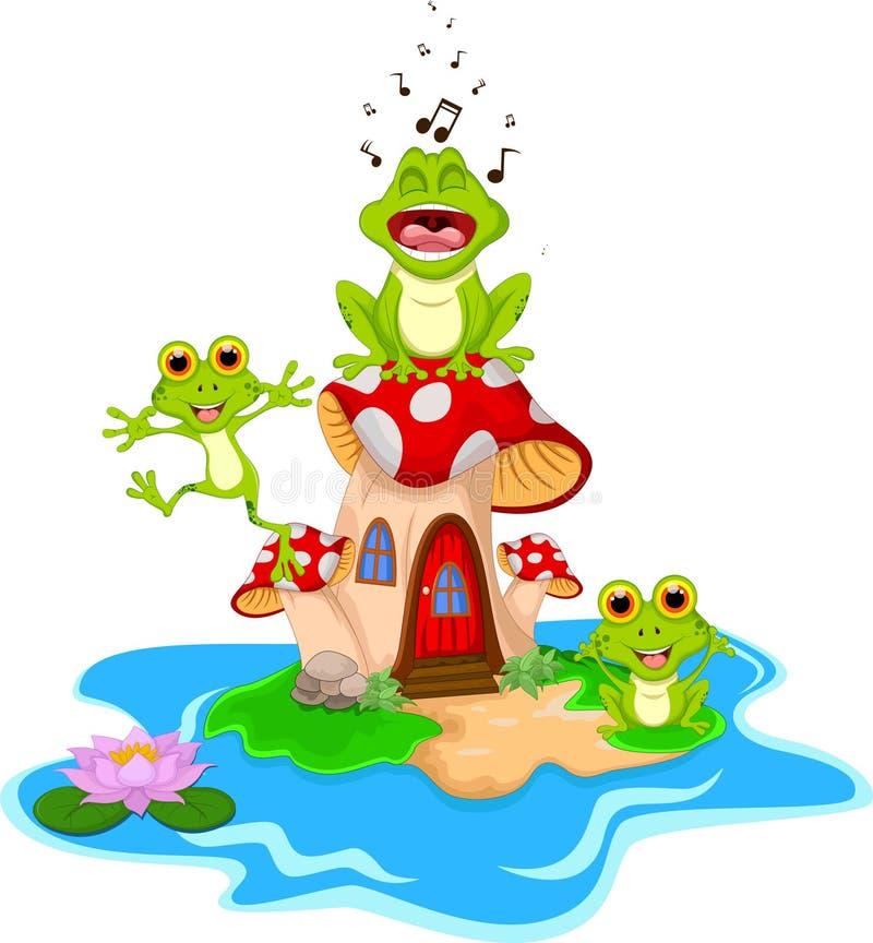 Canto divertente del fumetto della rana sul fungo illustrazione di stock