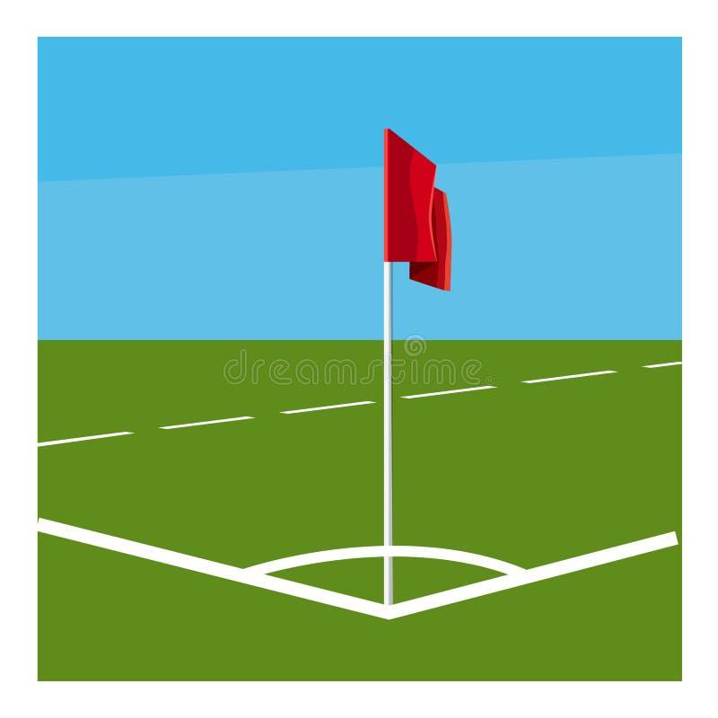 Canto do campo de futebol com ícone da bandeira vermelha ilustração do vetor