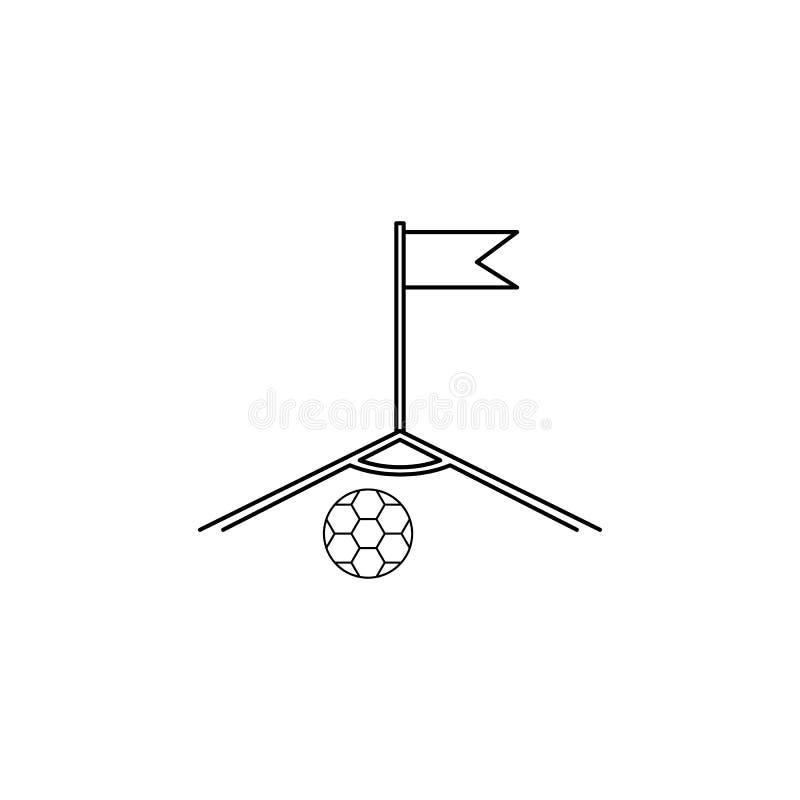 canto do campo de futebol e do ícone da bola Elemento do campeonato do mundo 2018 do futebol para apps móveis do conceito e da We ilustração stock