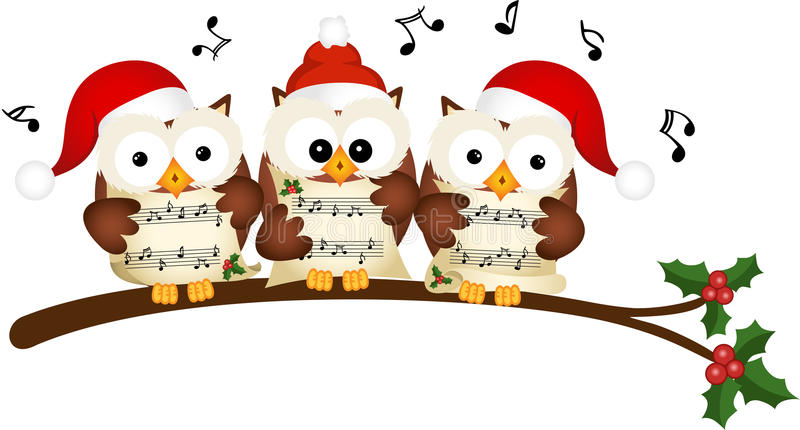 Canto do coro das corujas do Natal ilustração royalty free