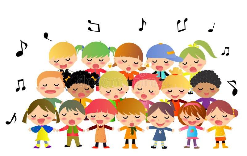 Canto do coro das crianças ilustração stock