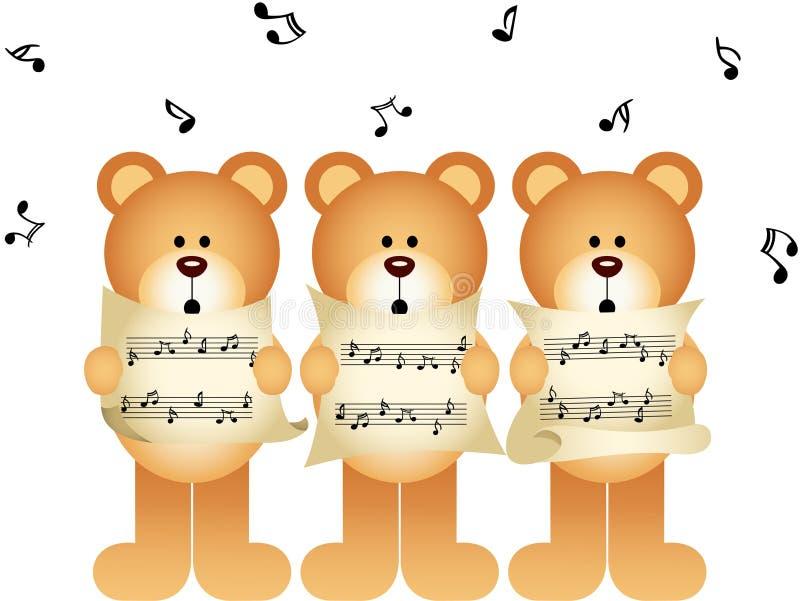 Canto do coro de três ursos de peluche ilustração stock