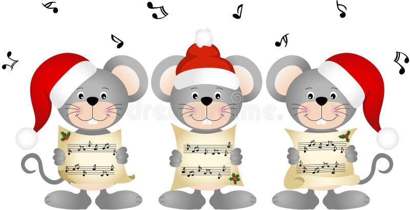 Canto do coro dos mouses do Natal ilustração stock