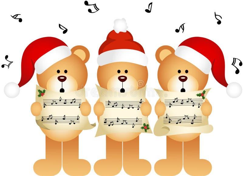 Canto do coro dos ursos de peluche do Natal ilustração royalty free