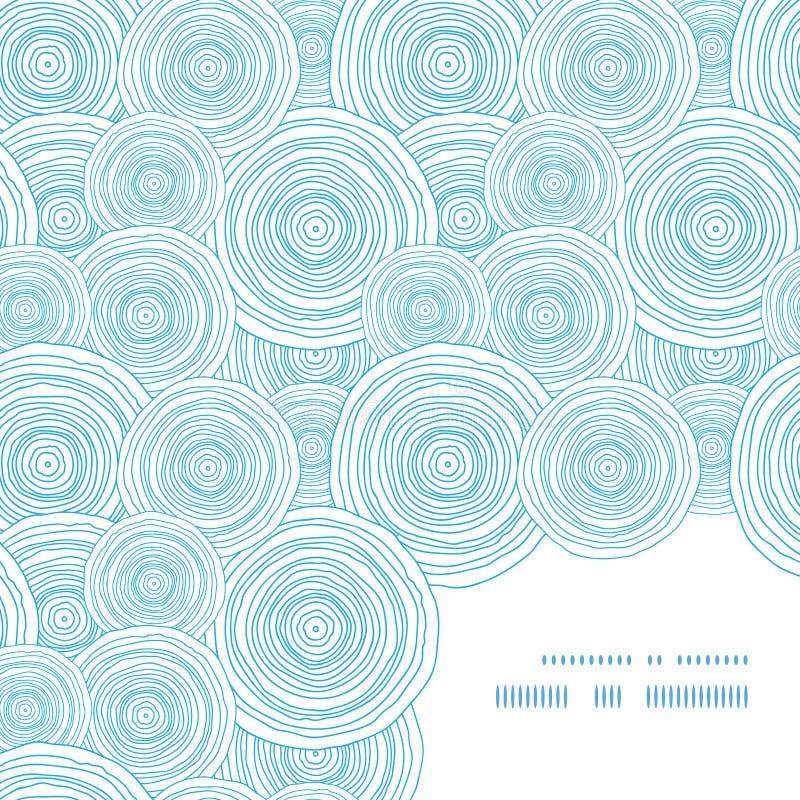 Canto do quadro da textura da água do círculo da garatuja do vetor ilustração royalty free