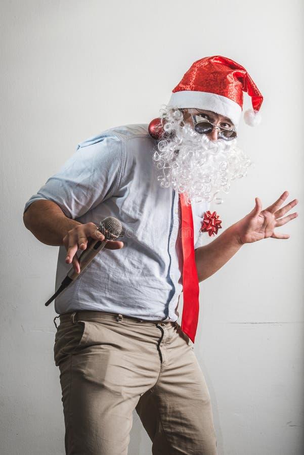 Canto engraçado do natale do babbo de Papai Noel foto de stock royalty free