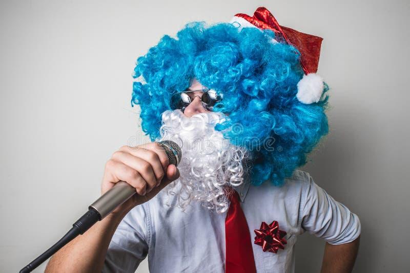 Canto engraçado do natale do babbo de Papai Noel fotografia de stock