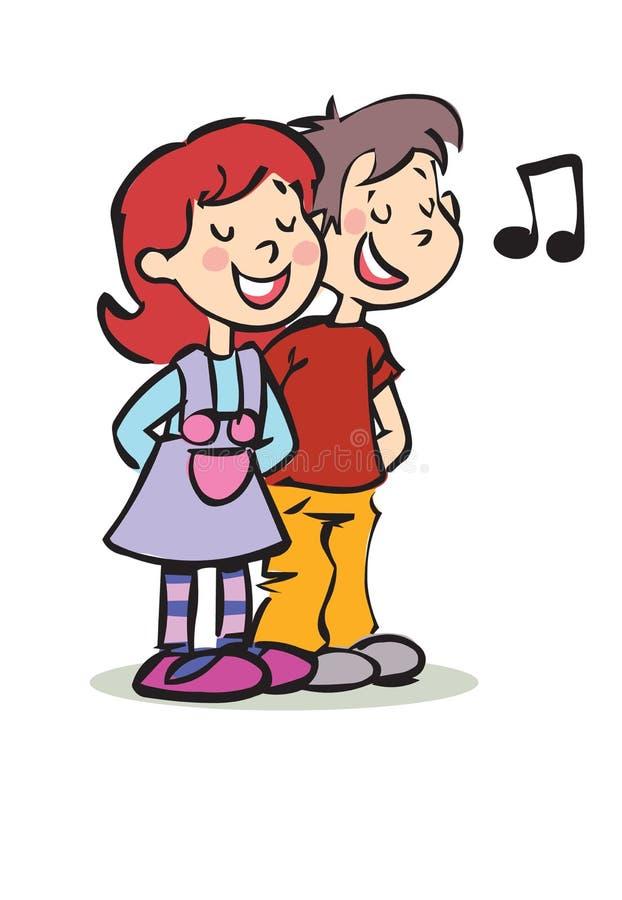 Canto felice della ragazza e del ragazzo royalty illustrazione gratis