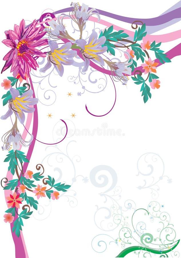 Canto floral com lótus cor-de-rosa ilustração stock