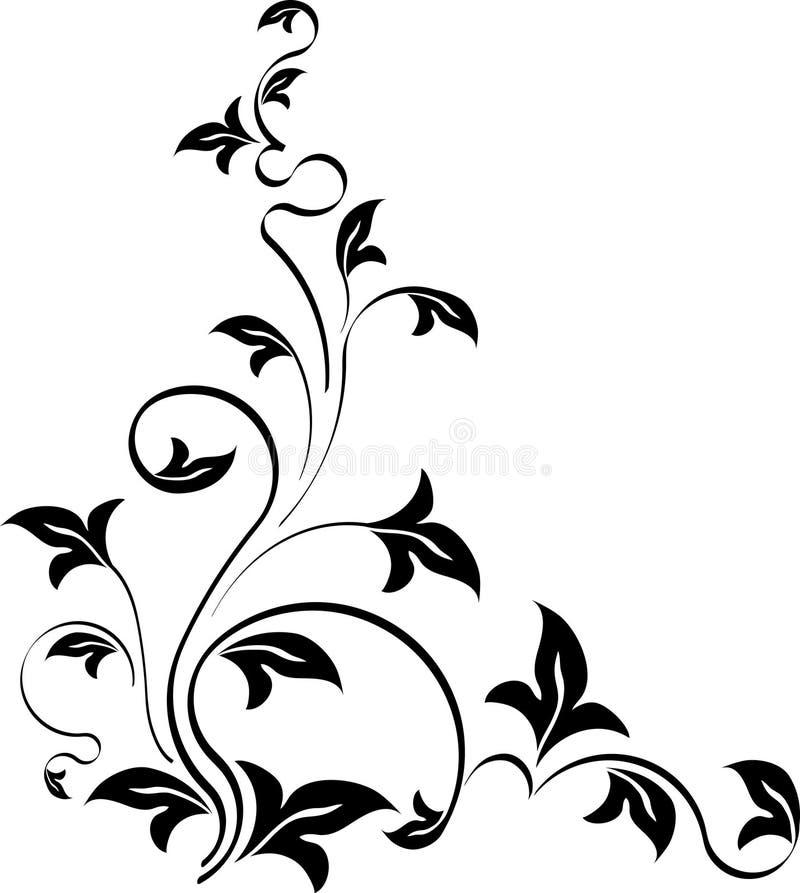Canto floral do estilo do estêncil Molde para seu projeto ilustração royalty free
