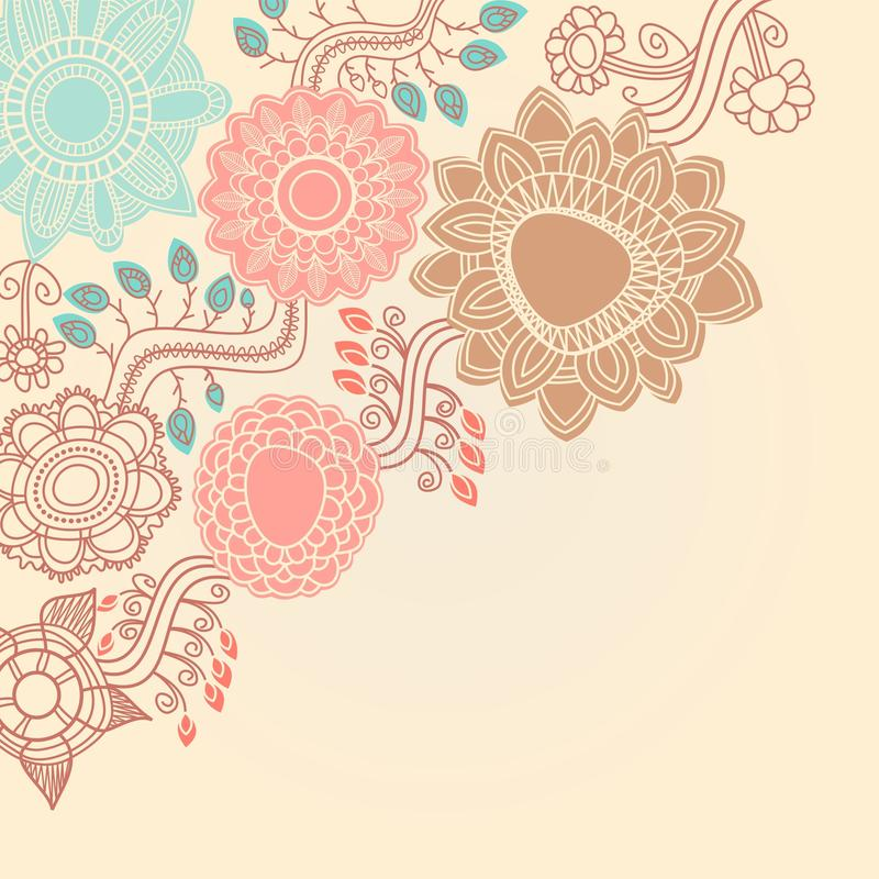 Canto floral retro ilustração do vetor
