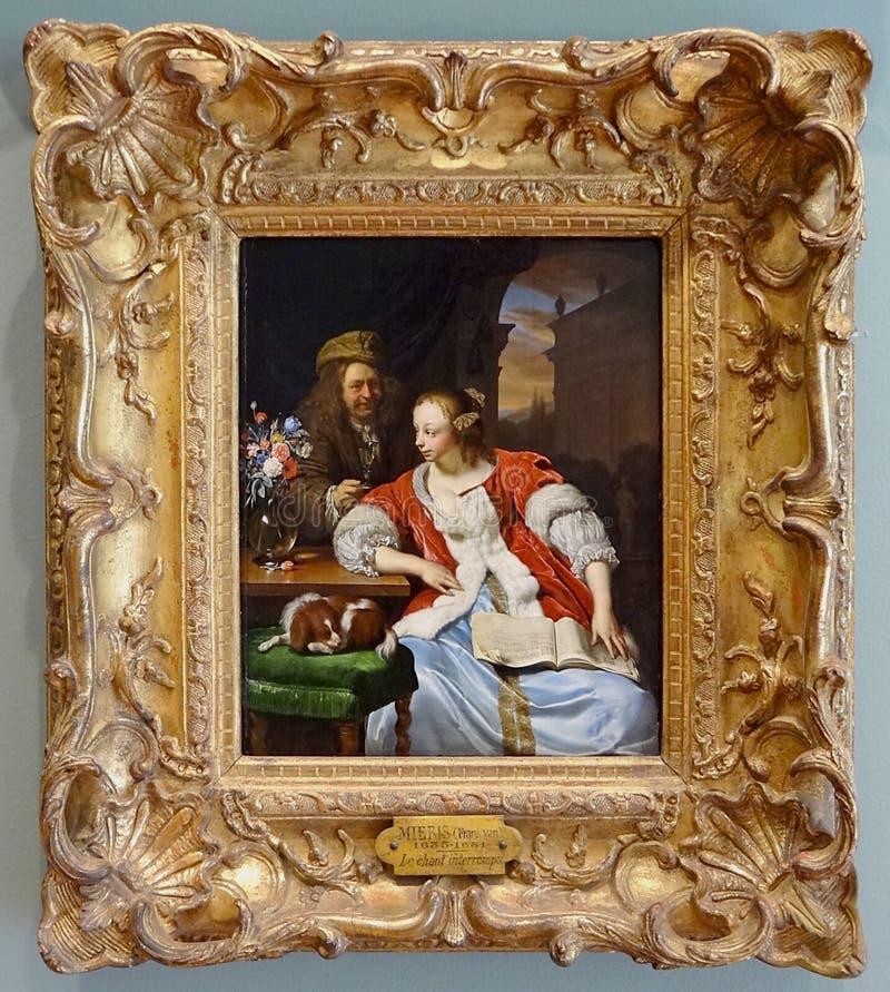 "' Canto interrompu"" del Le; , Frans van Mieris, 1671 foto de archivo"