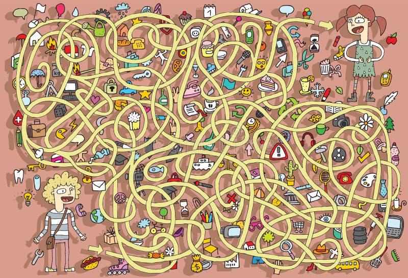 Canto Maze Game. Soluzione nello strato nascosto! illustrazione di stock
