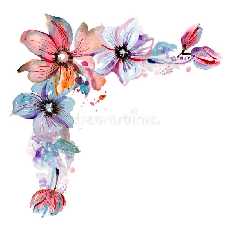 Canto pintado à mão da flor da aquarela bonito invitation Cartão de casamento Cartão de aniversário ilustração stock