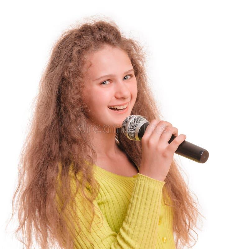 Canto teenager della ragazza fotografie stock