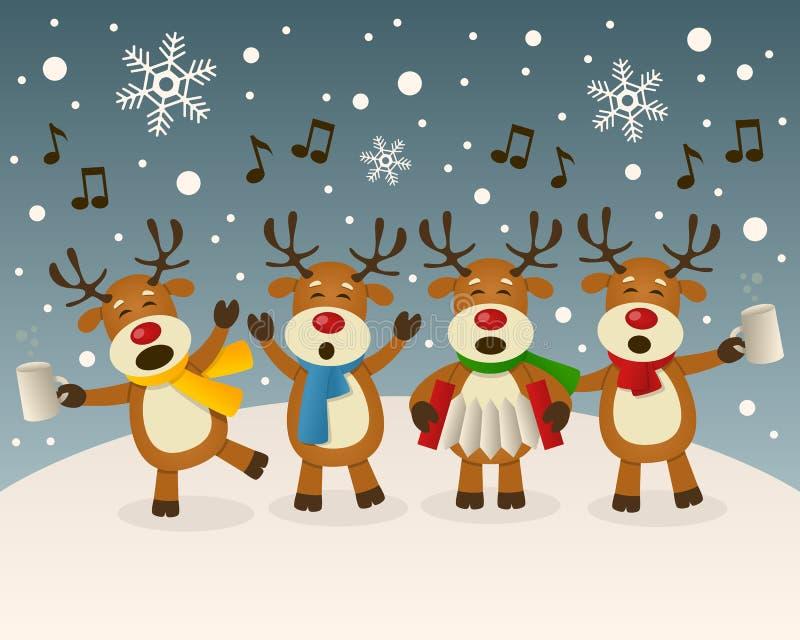 Canto ubriaco della renna sulla neve royalty illustrazione gratis