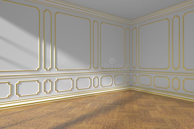 Canto vazio branco da sala com molde do ouro e assoalho de parquet ilustração do vetor