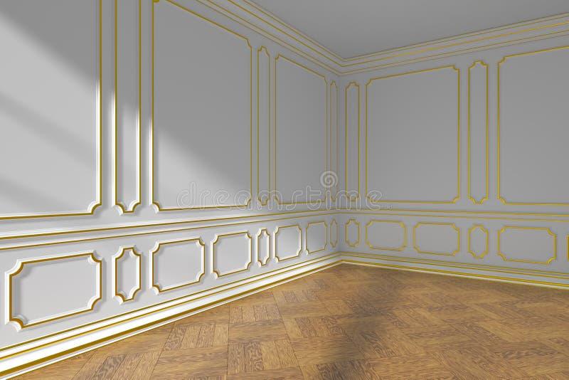 Canto vazio branco da sala com molde do ouro e parquet, close up ilustração stock