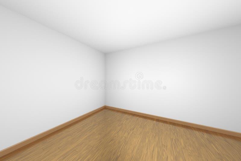 Canto vazio branco da sala com o assoalho de parquet de madeira marrom ilustração royalty free